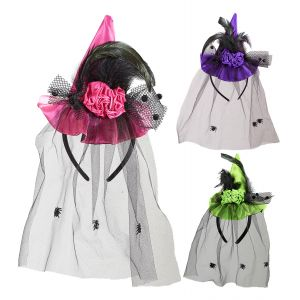 Mini sombrero bruja con velo