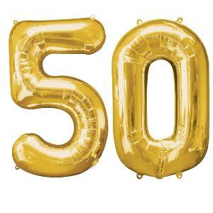 Globo helio numero 50 oro