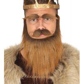 Barba bigote cejas castañas