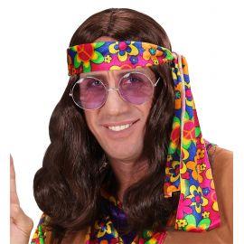 Peluca hippie castaña