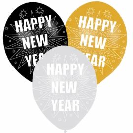 Globos feliz año plata oro