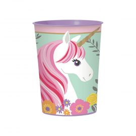 Vaso plastico unicornio
