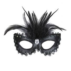 Antifaz baronesa negro con gema
