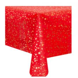 Mantel rojo estrellas oro 140x240