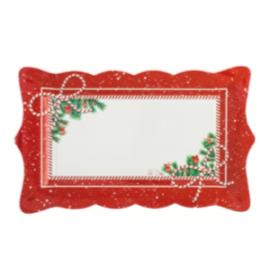 Bandejas lazo blanco y rojo 4 und