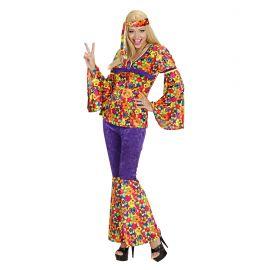 Disfraz hippie chica terciopelo morado