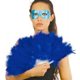 Abanico plumas azul