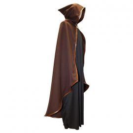 Capa medieval marron con capucha