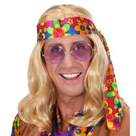 Peluca hippie hombre rubia