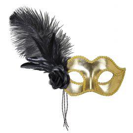 Antifaz dorado con plumas