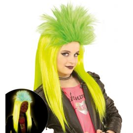 Peluca punkadelic amarillo y verde