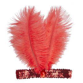 Cinta charleston roja con plumas