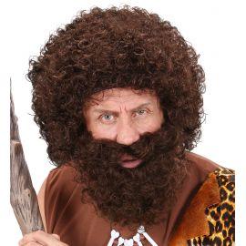 Peluca y barba rizada carctericial