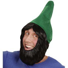 Set gnomo verde con barba y peluca