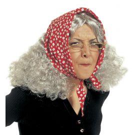 Peluca anciana con panuelo