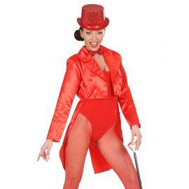 Frac mujer raso rojo