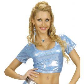 Top azul holografico