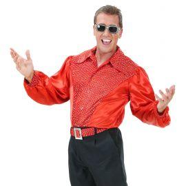 Camisa roja con lentejuelas holograficas