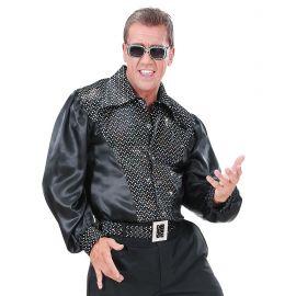 Camisa negra con lentejuelas holografica