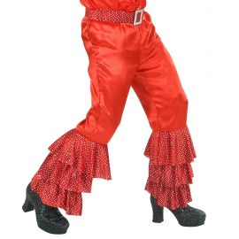 Pantalon rojo volantes con cinturon