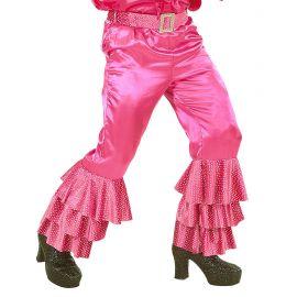 Pantalon rosa voalntes con cinturon s