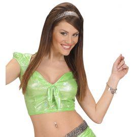 Top verde holografico con lazo