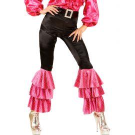 Pantalon negro con campana rosa talla l