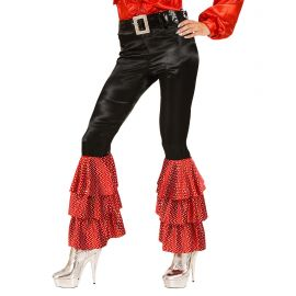 Pantalon negro con campana rojas