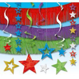 Decoracion colgante estrellas multicolor