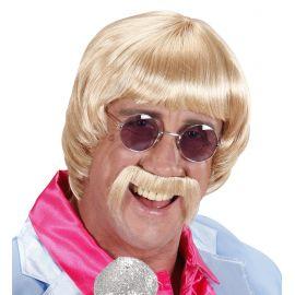 Peluca rubia años 60 con bigote y gafas