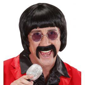 Peluca morena años 60 con bigote y gafas