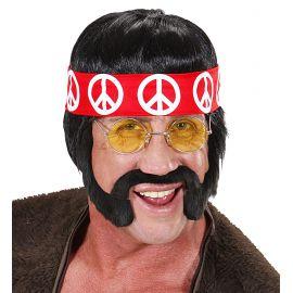 Peluca hippie cinta patillas y bigote
