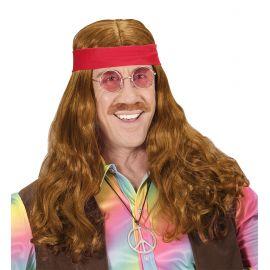 Peluca hippie castaña con banda y bigote