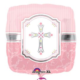 Globo helio mi primera comunion rosa