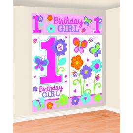 Fondo pared primer cumpleaños niña