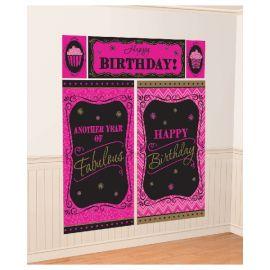 Decoración pared cumpleaños rosa