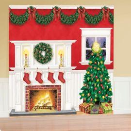 Decoracion pared navidad chimenea