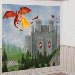 Decoracion pared castillo con dragones