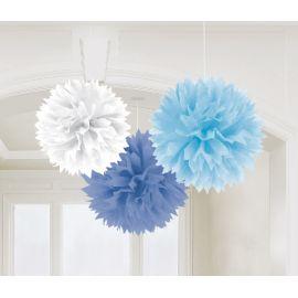 Pack 3 pompones tonos azules