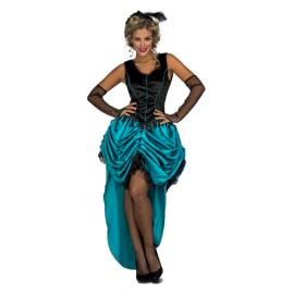 Disfraz senorita saloon falda azul