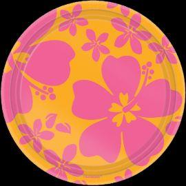 Platos hibiscus rosa 17.7cm (8unidades)
