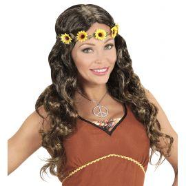 Peluca hippie chica castaña con cinta
