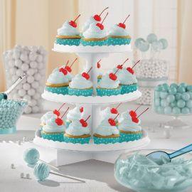 Bandeja 3 pisos para cupcakes blanca