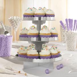 Bandeja 3 pisos para cupcakes plata