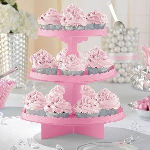 Bandeja 3 pisos para cupcakes rosa