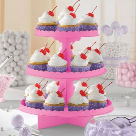 Bandeja 3 pisos para cupcakes fucsia