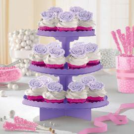 Bandeja 3 pisos para cupcakes morada