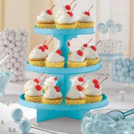 Bandeja 3 pisos para cupcakes azul carib