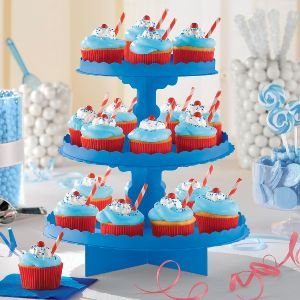 Bandeja 3 pisos para cupcakes azul