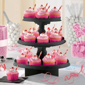 Bandeja 3 pisos para cupcakes negra
